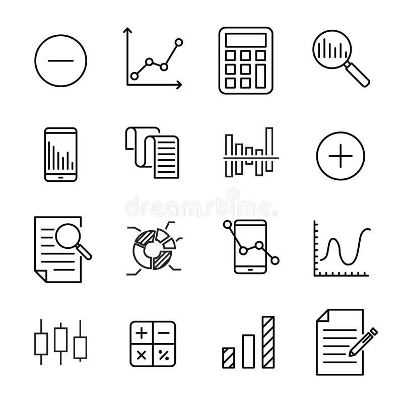 Eenvoudige inzameling van berekening verwante lijnpictogrammen vector illustratie