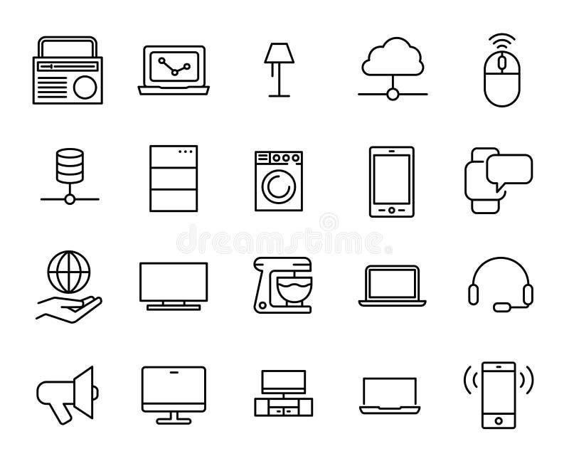Eenvoudige inzameling van Internet van ding verwante lijnpictogrammen vector illustratie