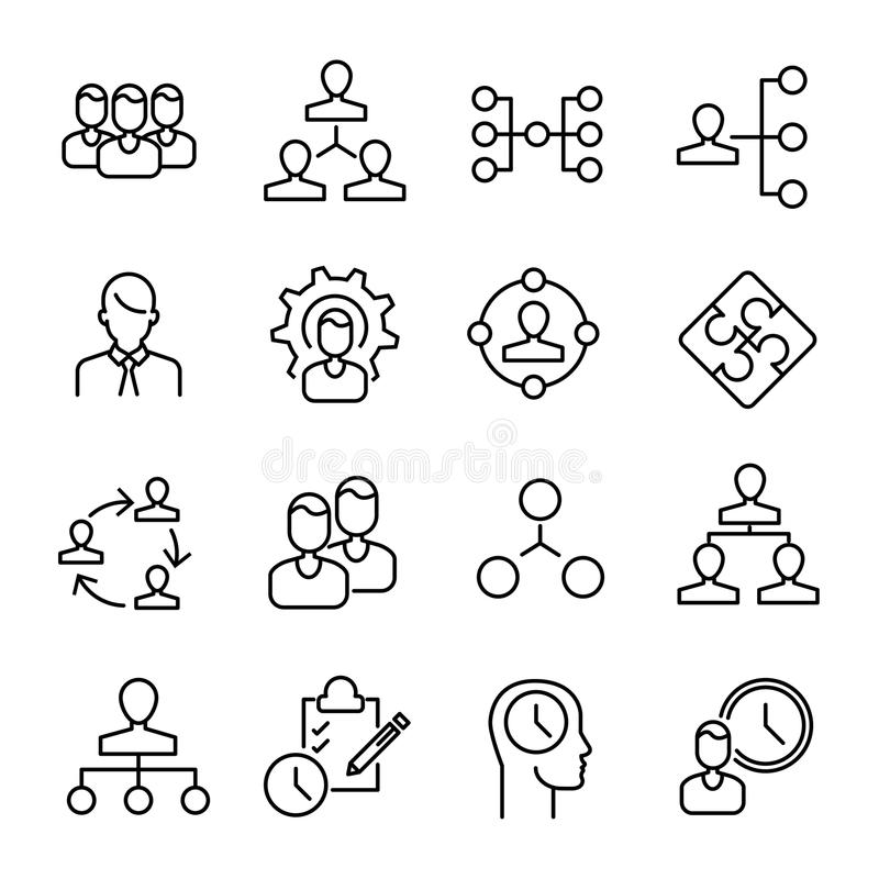 Eenvoudige inzameling van organisatie verwante lijnpictogrammen vector illustratie