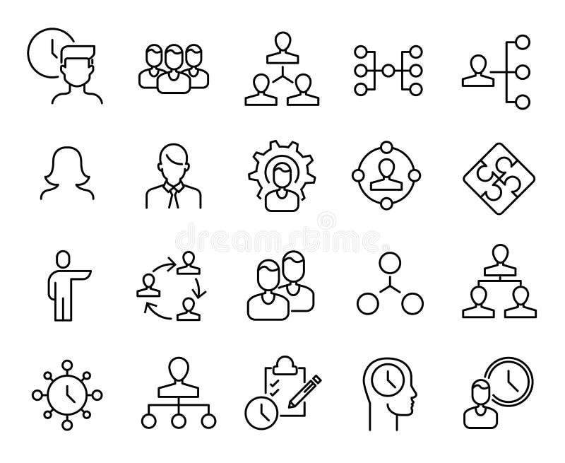 Eenvoudige inzameling van organisatie verwante lijnpictogrammen stock illustratie