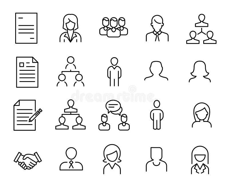 Eenvoudige inzameling van pictogrammen van de personeels de u verwante lijn vector illustratie
