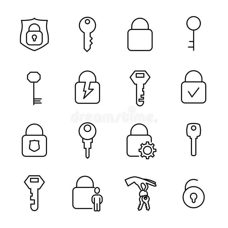 Eenvoudige inzameling van sleutels en sloten verwante lijnpictogrammen stock illustratie