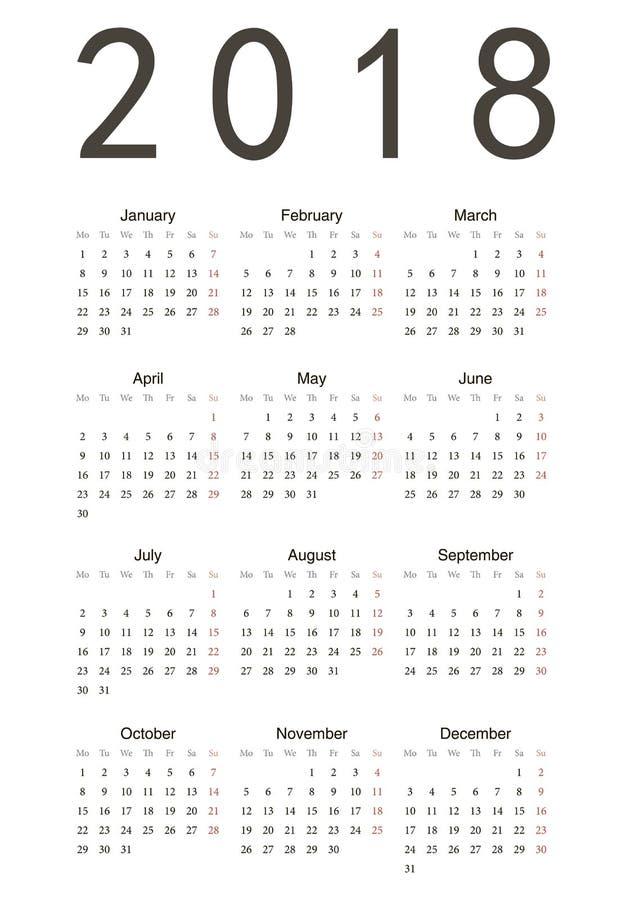 Eenvoudige kalender 2018 royalty-vrije illustratie