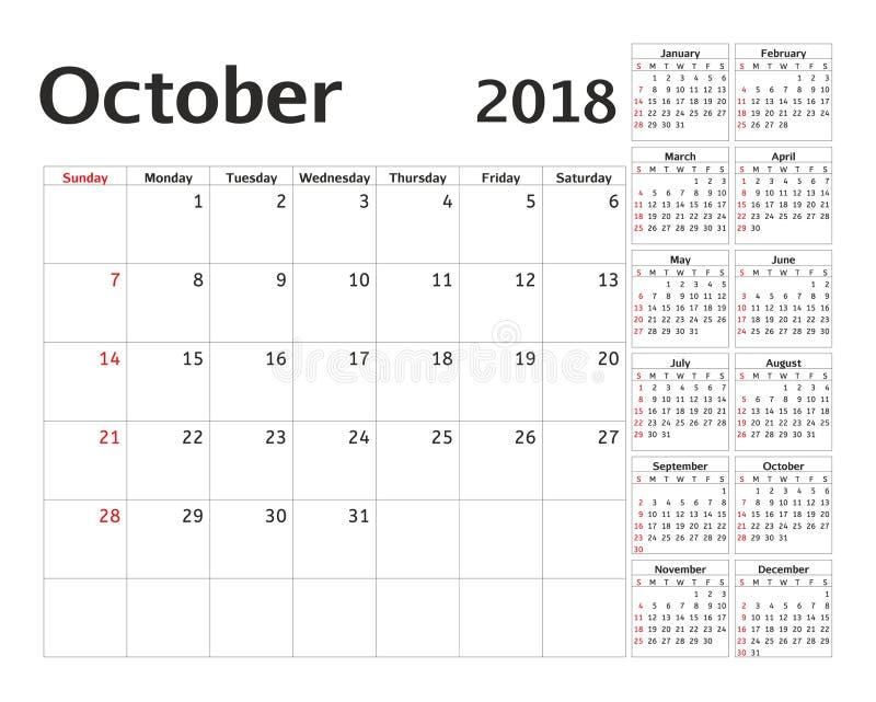 Eenvoudige kalenderontwerper voor het jaar van 2018 Het vectormalplaatje van ontwerpoktober royalty-vrije illustratie