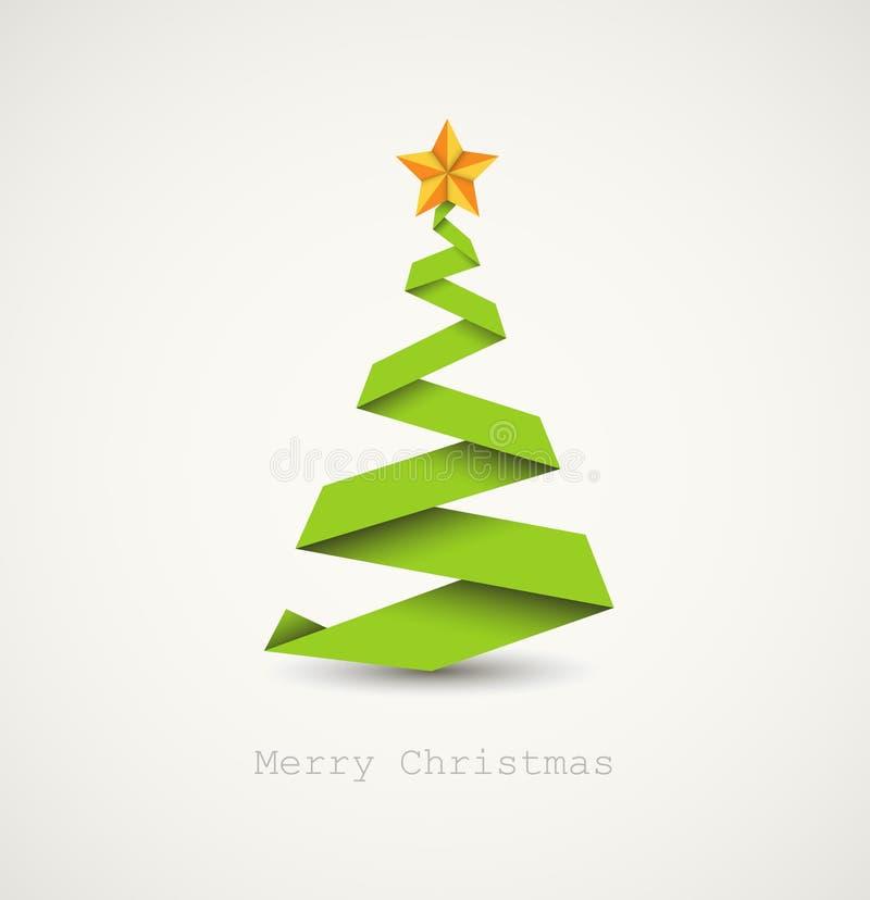 Eenvoudige Kerstmisboom die van document streep wordt gemaakt stock illustratie