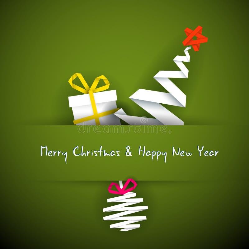 Eenvoudige Kerstmiskaart Met Gift, Boom En Snuisterij Royalty-vrije Stock Afbeeldingen