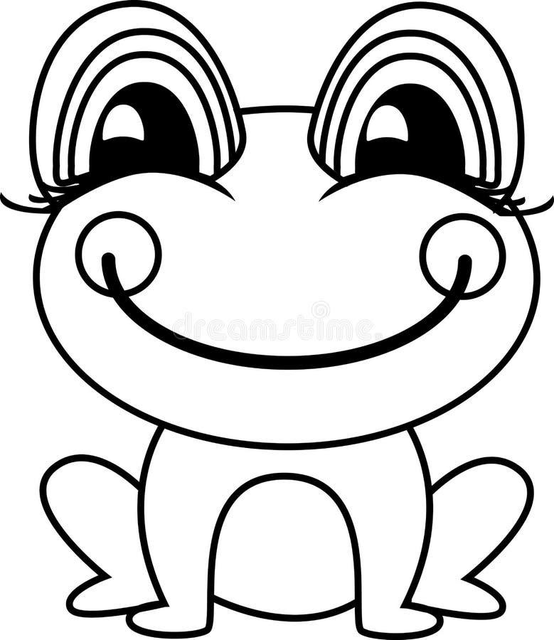 Eenvoudige kikker of pad vectorillustratie royalty-vrije illustratie