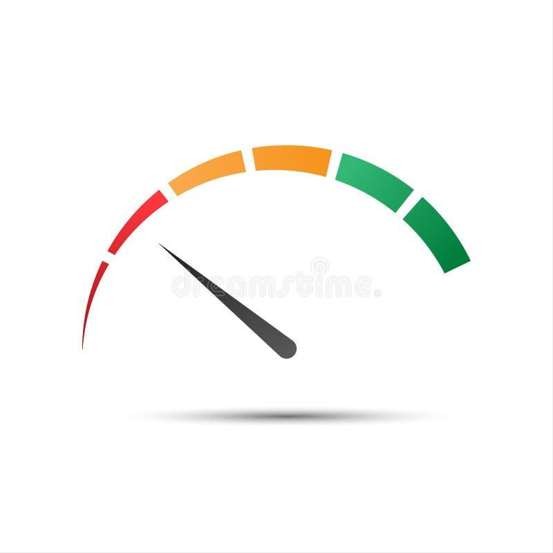 Eenvoudige kleurentachometer met een wijzer in het minimum rode deel royalty-vrije illustratie