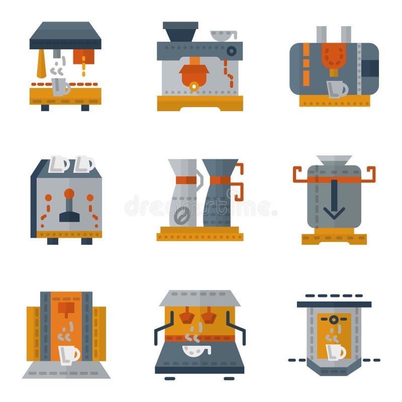 Eenvoudige kleurrijke pictogrammen voor koffiemachines royalty-vrije illustratie