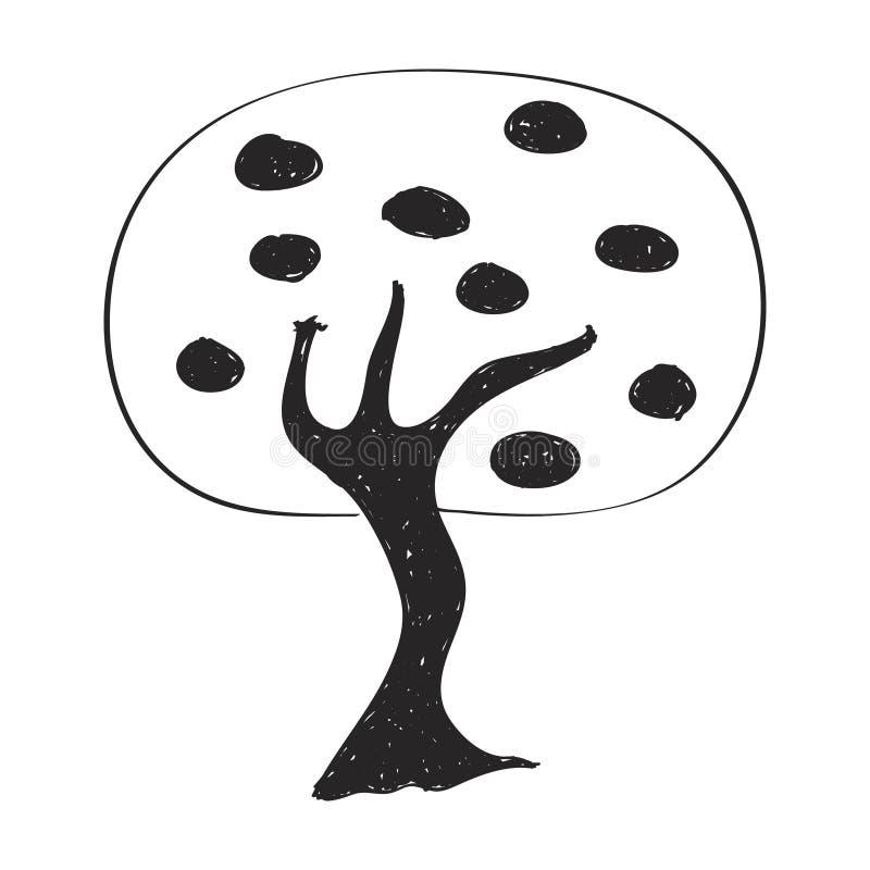 Eenvoudige krabbel van een boom stock illustratie
