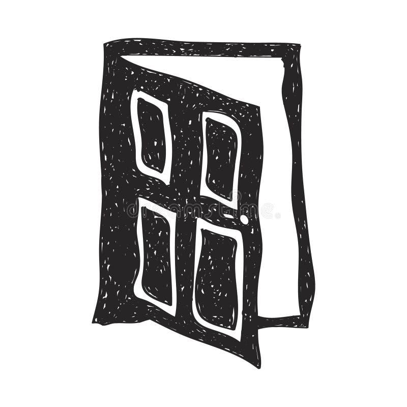 Eenvoudige krabbel van een deur stock illustratie