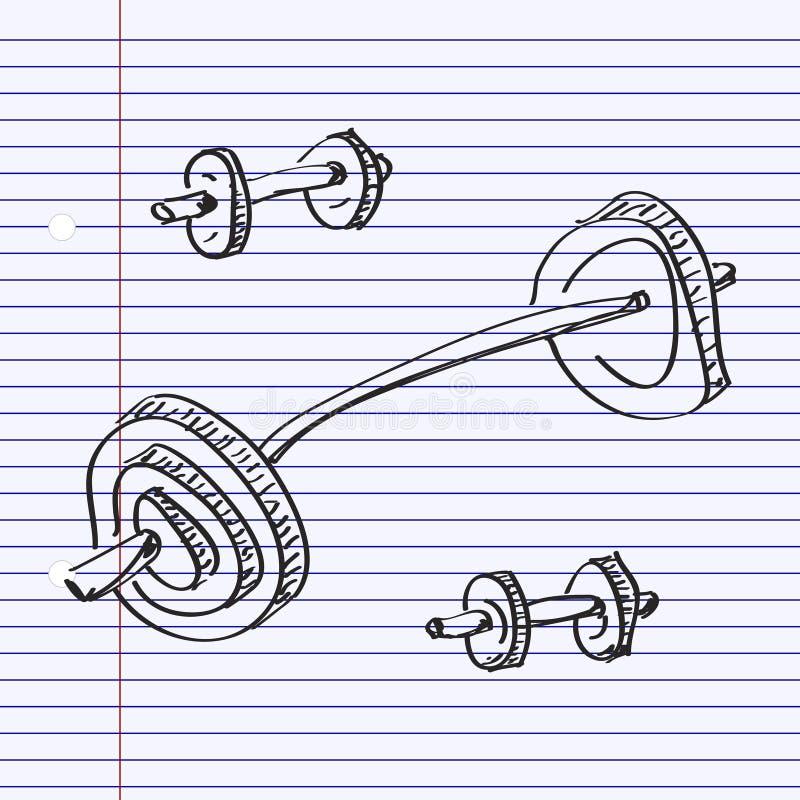Eenvoudige krabbel van een dumbell royalty-vrije illustratie