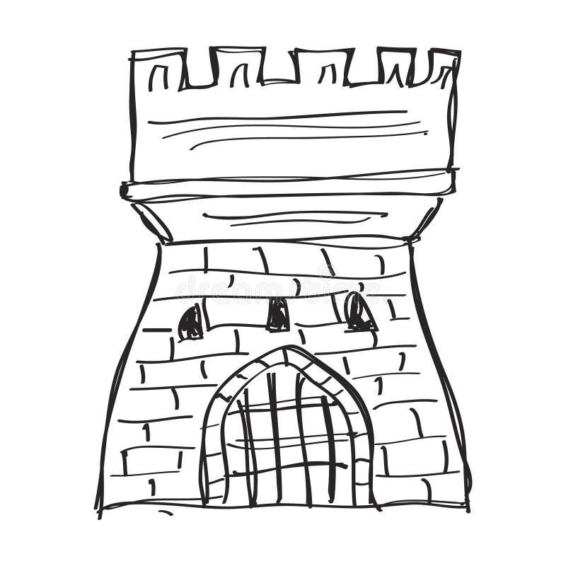 Eenvoudige krabbel van een kasteel royalty-vrije illustratie