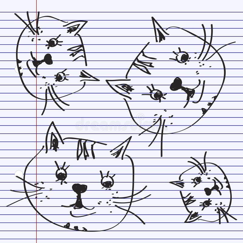 Eenvoudige krabbel van een kat royalty-vrije illustratie