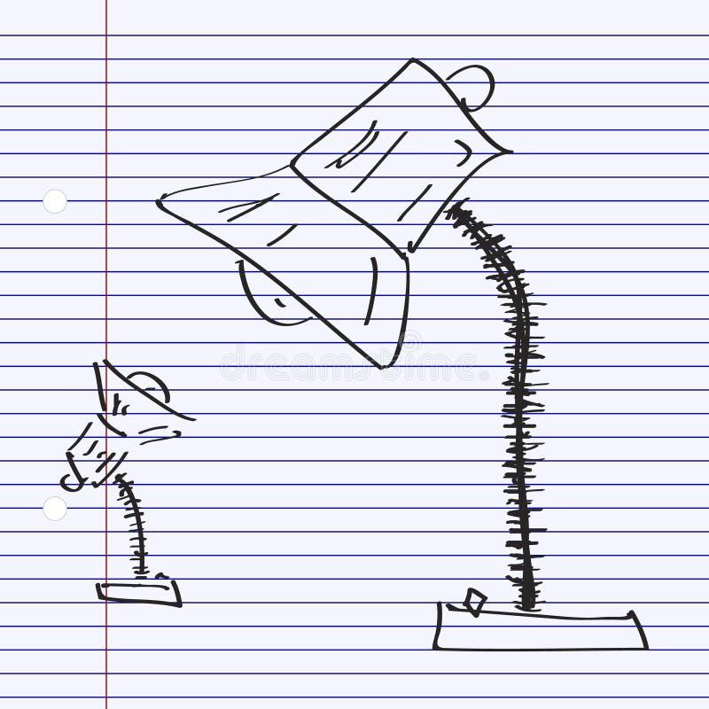 Eenvoudige krabbel van een lamp royalty-vrije illustratie