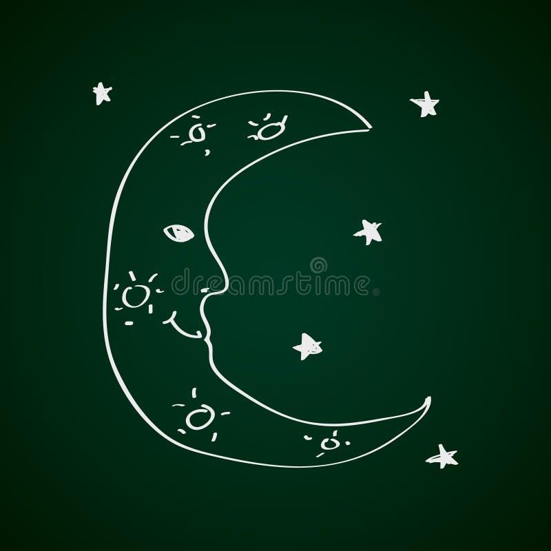 Eenvoudige krabbel van een maan stock illustratie