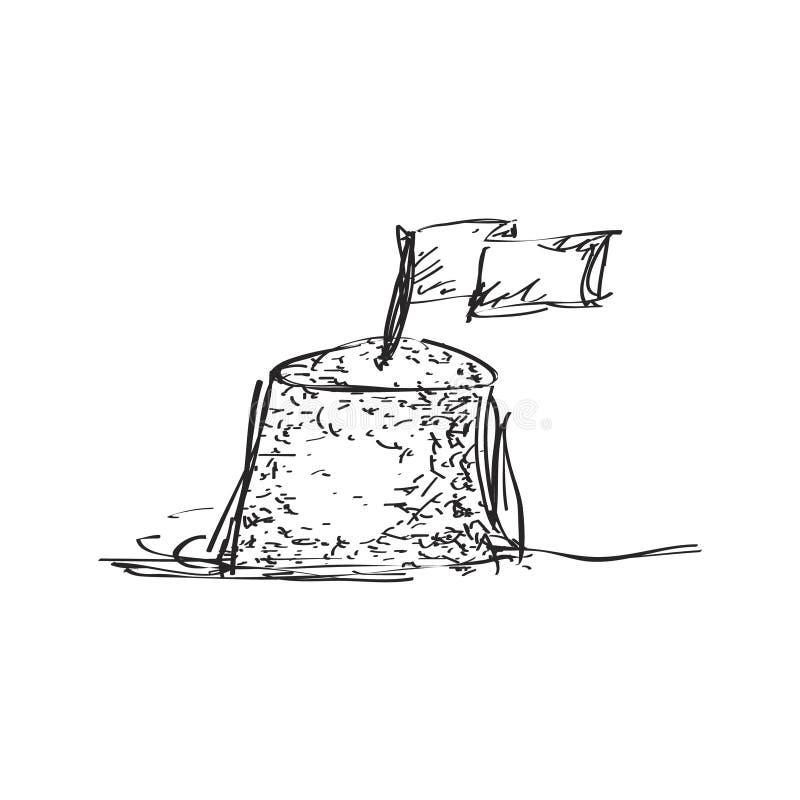 Eenvoudige krabbel van een zandkasteel royalty-vrije illustratie