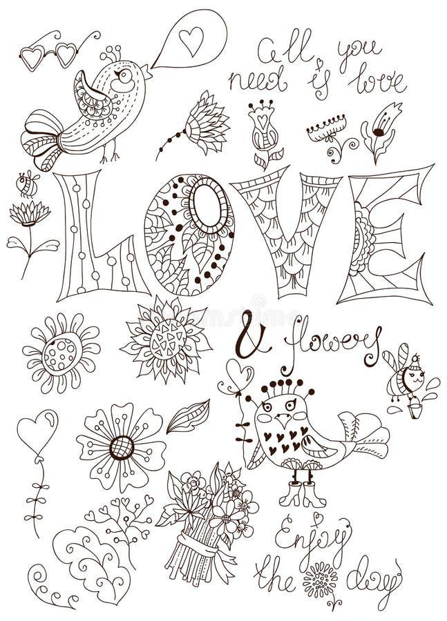 Eenvoudige krabbelachtergrond met bloemen en vogel stock illustratie