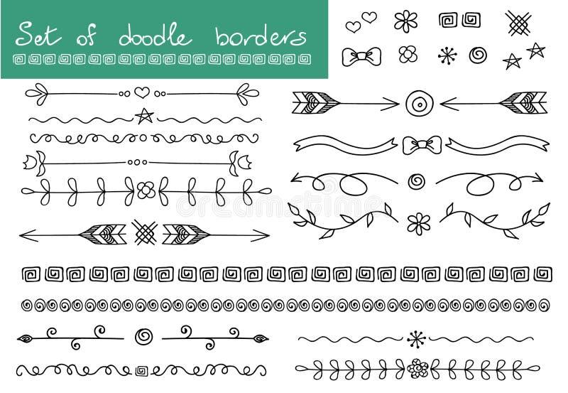 Eenvoudige krabbelreeks Grenzen en decoratieelementen vector illustratie