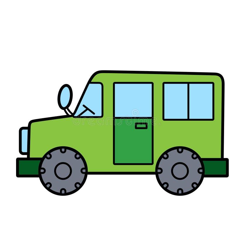 Eenvoudige leuke groene auto op witte achtergrond royalty-vrije stock afbeeldingen