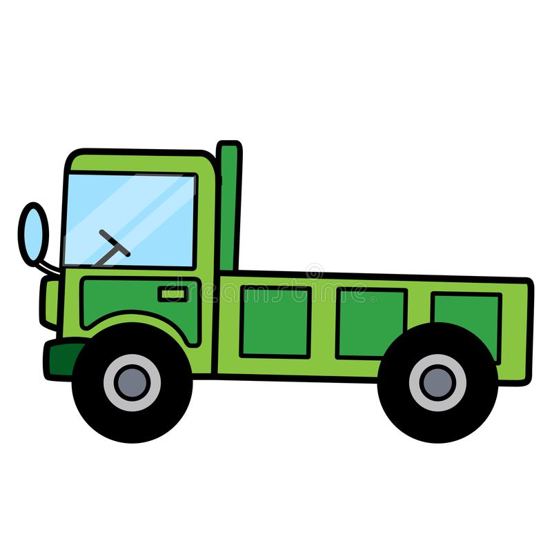 Eenvoudige leuke groene kippersvrachtwagen op witte achtergrond royalty-vrije stock fotografie