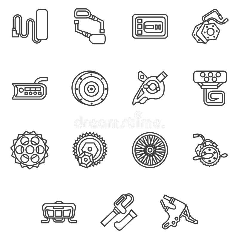 Eenvoudige lijnpictogrammen voor e-fiets delen vector illustratie