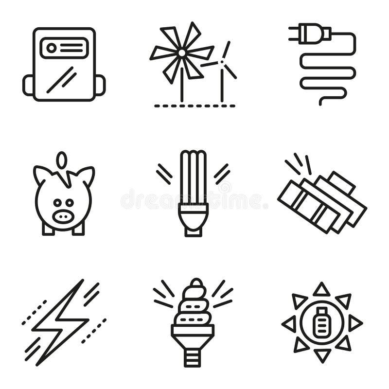 Eenvoudige lijnpictogrammen voor het concept van de besparingsenergie stock illustratie