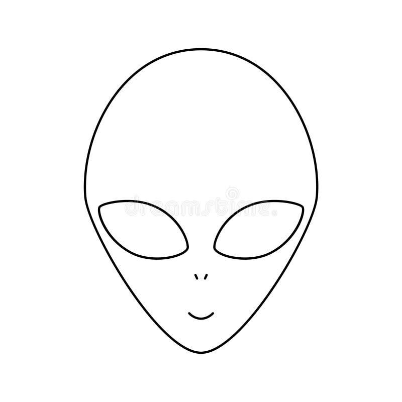Eenvoudige lineaire zwart-witte vreemde hoofd, vectorillustratie vector illustratie