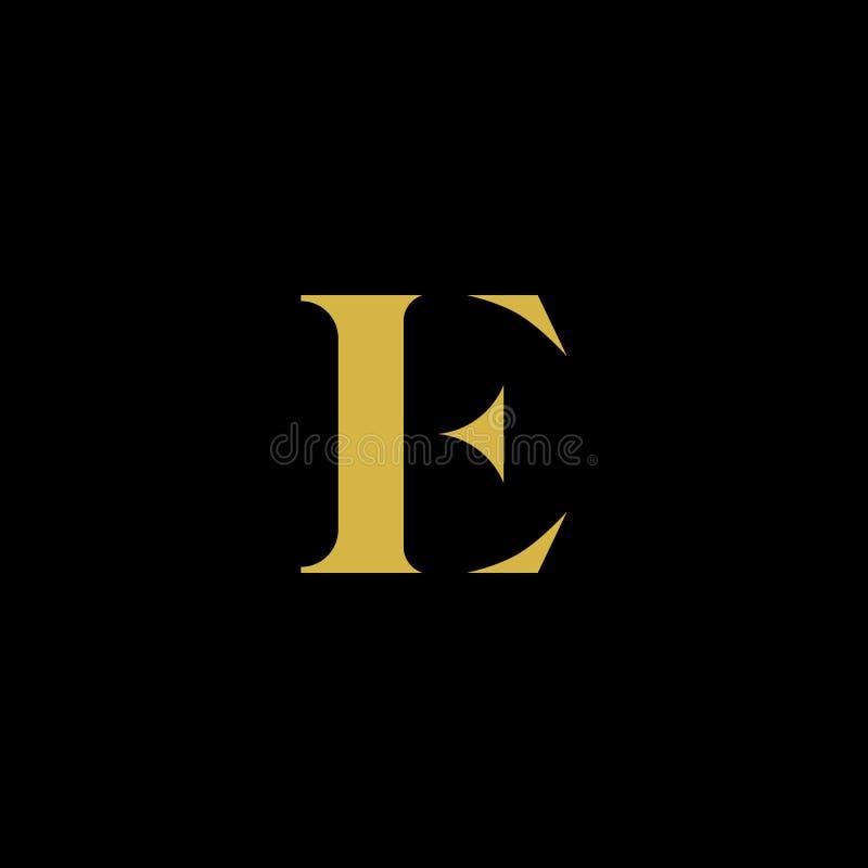 Eenvoudige Luxebrief E Aanvankelijk met Gouden en Zwart kleurenembleem vector illustratie