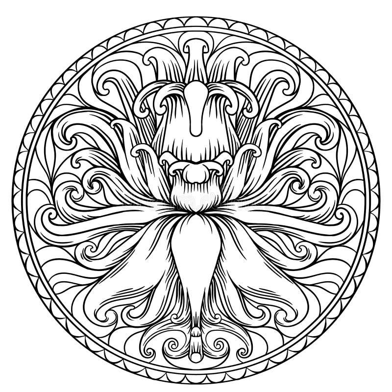 Eenvoudige Mandala Shape voor het Kleuren Vectormandala bloemen royalty-vrije illustratie
