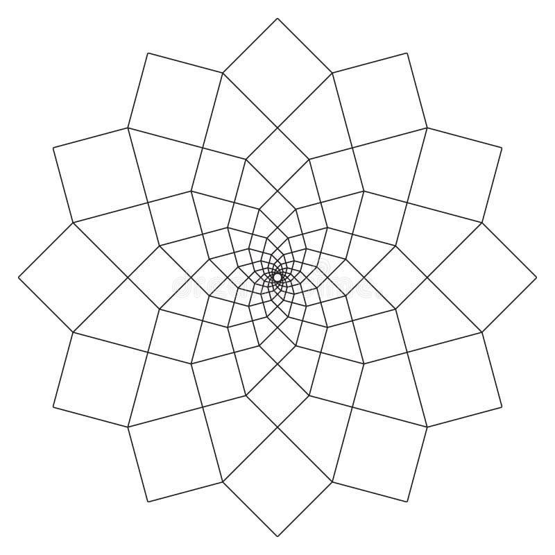 Eenvoudige Mandala Shape voor het Kleuren Vectormandala bloemen Bloem oosters Boekpagina overzicht royalty-vrije illustratie