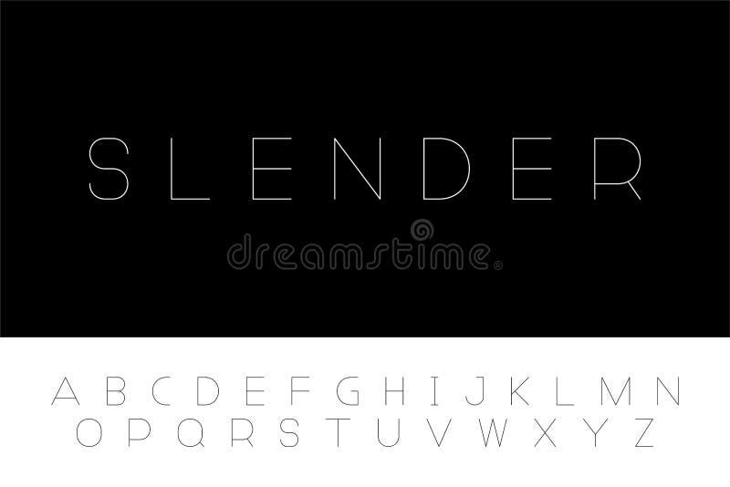 Eenvoudige minimalistic doopvont Vector Engels alfabet Dunne lineaire Latijnse brieven vector illustratie