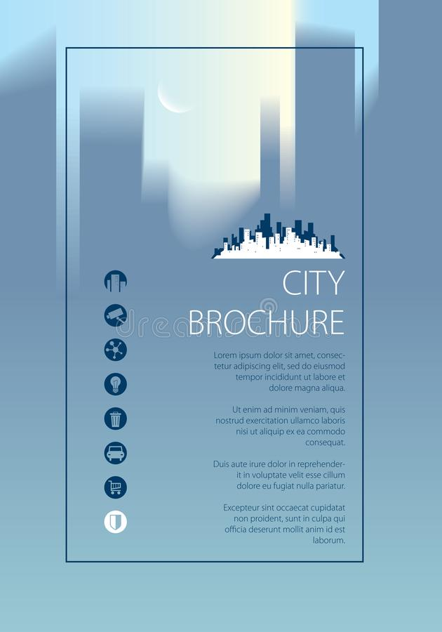Eenvoudige minimalistic reizende de toeristenhandleiding van de stadshorizon Brochure, vlieger, dekkings, affiche of handleidings vector illustratie