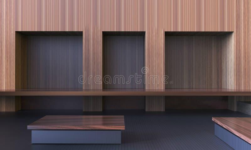 Eenvoudige Moderne Lege Zaal en Werkplaatshardhout Schone Stijl/Eigentijds Minimaal Art. stock afbeeldingen