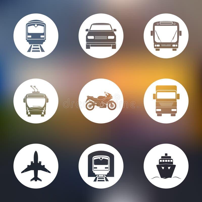Eenvoudige monochromatische geplaatste vervoerpictogrammen vector illustratie