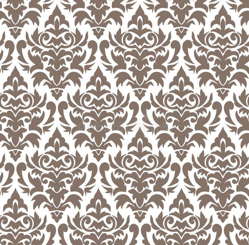 Eenvoudige naadloze elegante bloem van het damast de vectorpatroon stock illustratie
