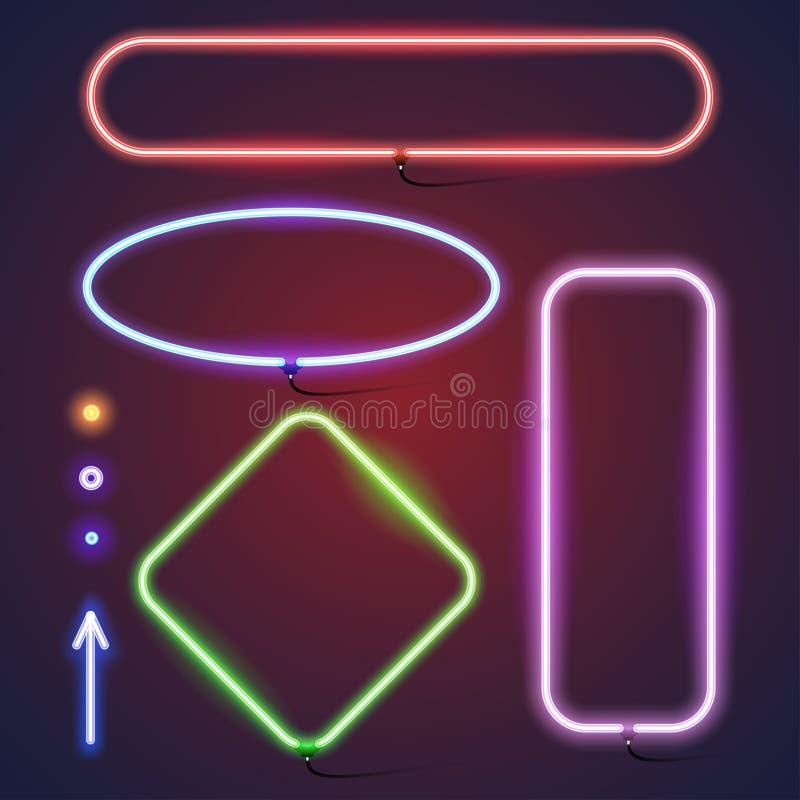 Eenvoudige neonkaders vector illustratie