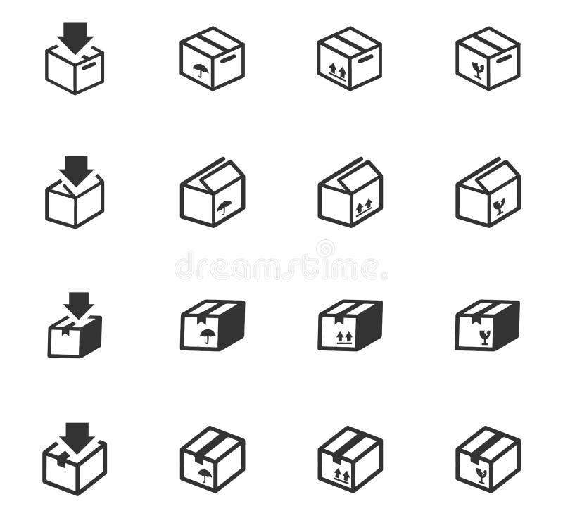 Eenvoudige pictogrammenreeks van doos vector illustratie