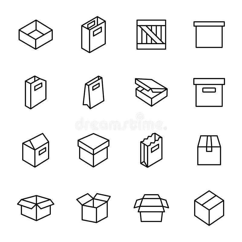 Eenvoudige reeks doos en kratten royalty-vrije illustratie