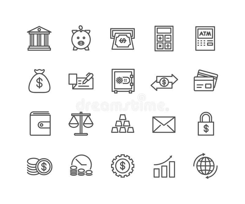 Eenvoudige Reeks Geld en Bank vector dunne lijnpictogrammen stock illustratie