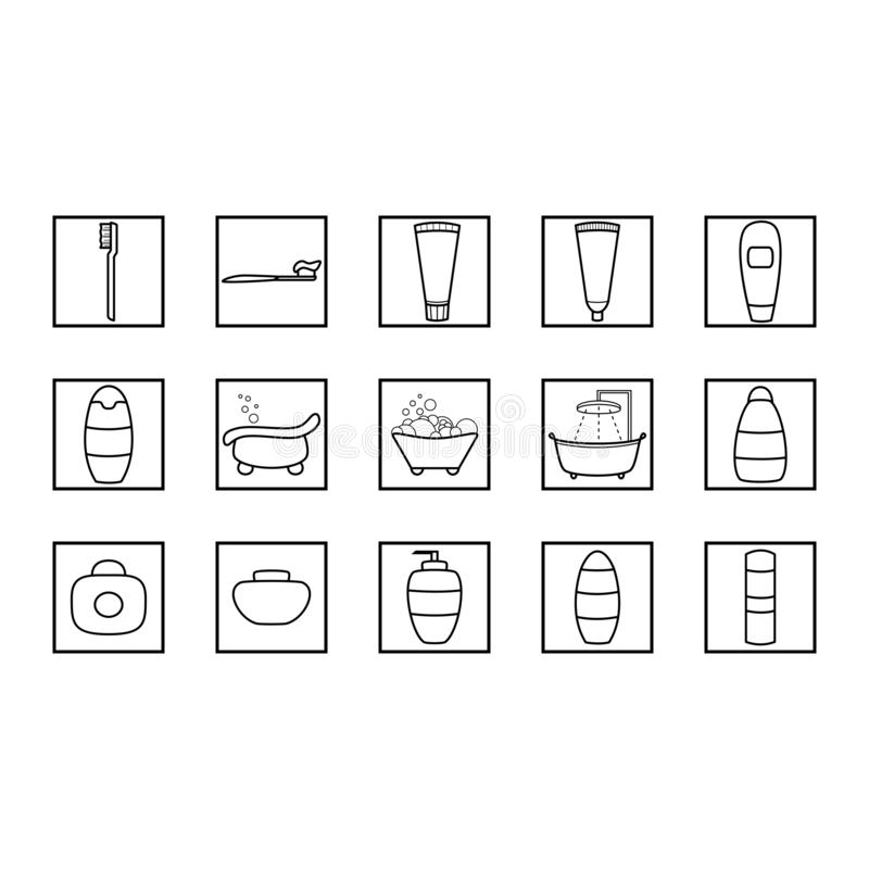 Eenvoudige reeks hygiënepictogrammen De vectorreeks van het badkamerspictogram stock illustratie