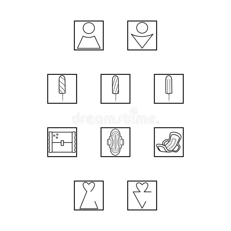 Eenvoudige reeks hygi?nepictogrammen De vector geplaatste stootkussens van de vrouwenhygiëne Vrouwelijke stootkussens en toiletpi royalty-vrije illustratie