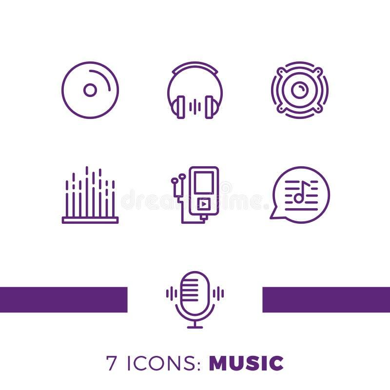 Eenvoudige Reeks Pictogrammen van de Muziek Audio Verwante Vectorlijn Bevat dergelijke Pictogrammen zoals Nota, Schijf, Microfoon royalty-vrije illustratie