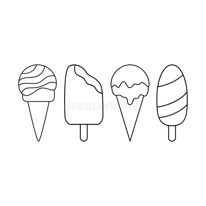 Eenvoudige reeks roomijspictogrammen Zwart-witte lijnpictogrammen vector illustratie