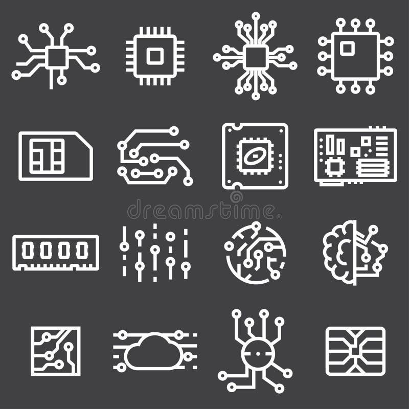 Eenvoudige Reeks van Computer Chips Related Vector Icons royalty-vrije illustratie