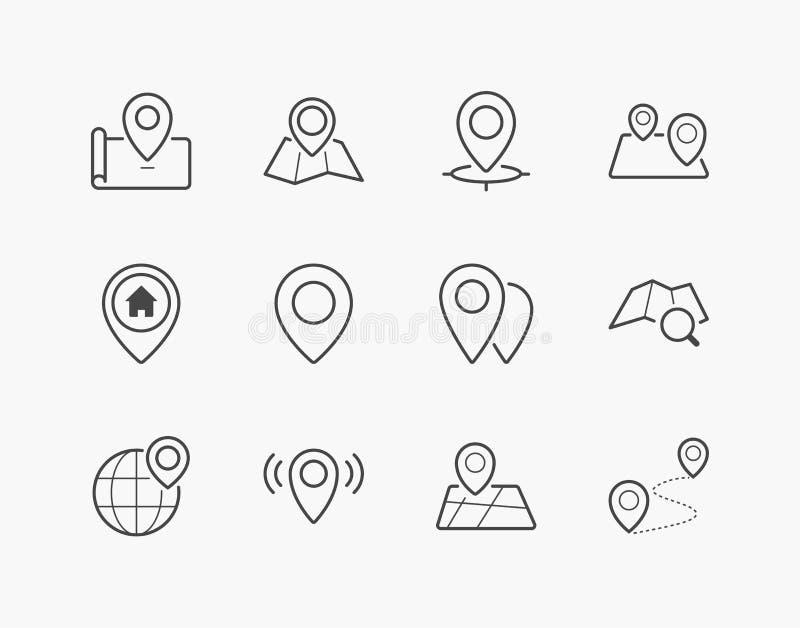 Eenvoudige Reeks van Plaats Pin Thin Line Icons stock illustratie