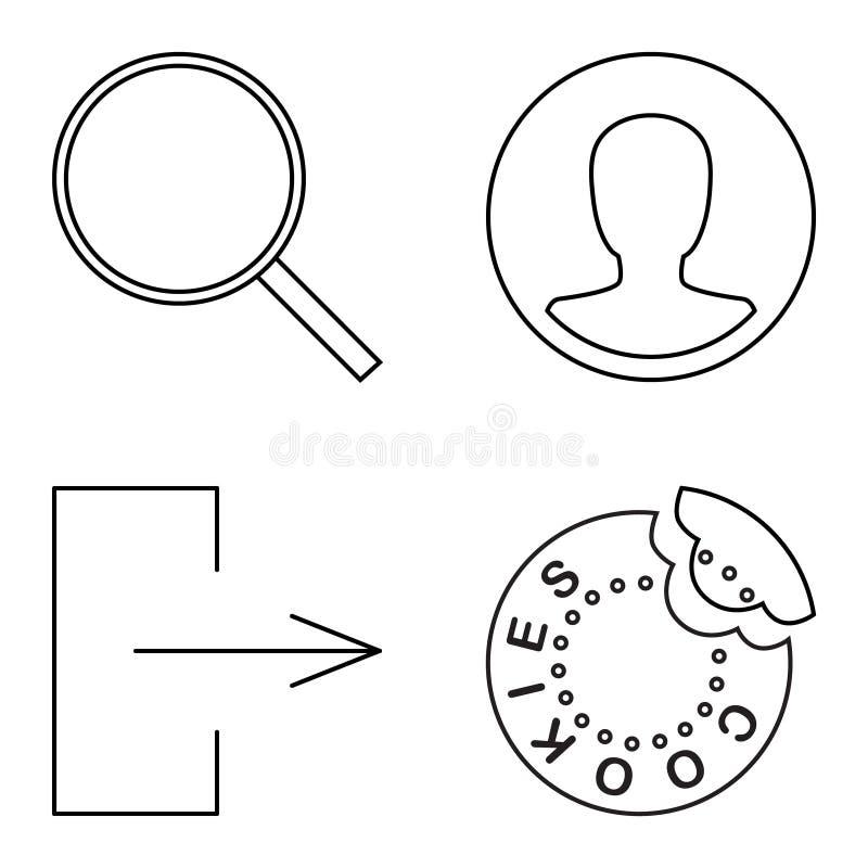 Eenvoudige reeks vector dunne lijnpictogrammen stock illustratie