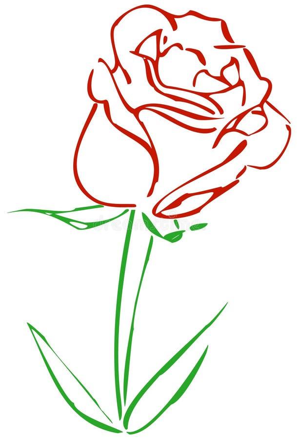 Eenvoudige Rood nam toe royalty-vrije illustratie