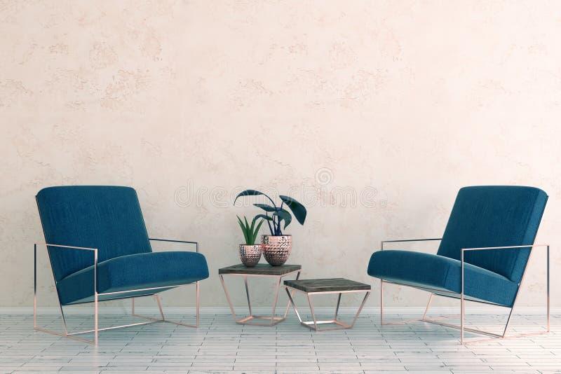 Eenvoudige ruimte met meubilair en blinde muur royalty-vrije illustratie
