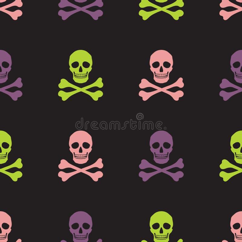 Eenvoudige schedel en gekruiste knekels naadloos patroon stock illustratie